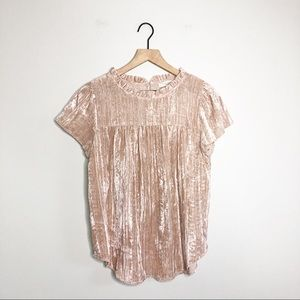 NWT Loft Tan Velour Mock Neck Blouse